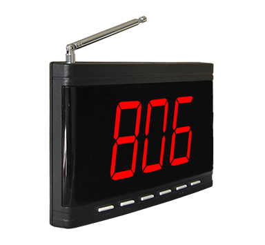 Wireless calling system digital number display receiver with 1 called number in 3 digits
