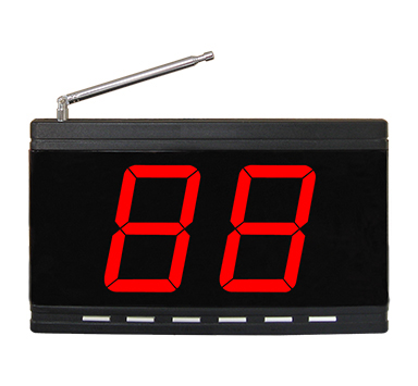 Wireless calling system digital number display receiver with 1 called number in 2 digits