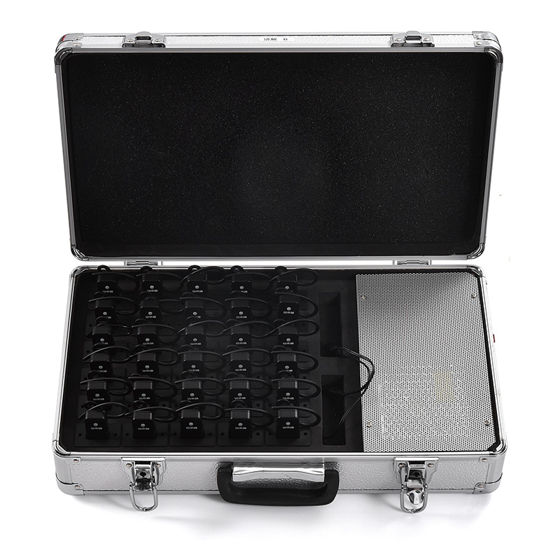 2 way double radio transmitter with earpiece receiver suitcase storage box